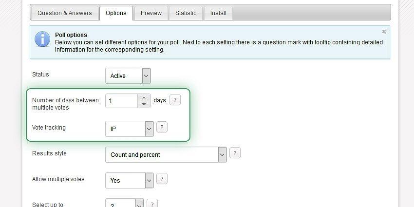 Advanced poll settings