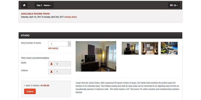Room reservation details
