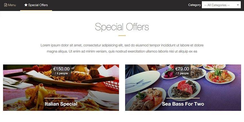 Special menu offers