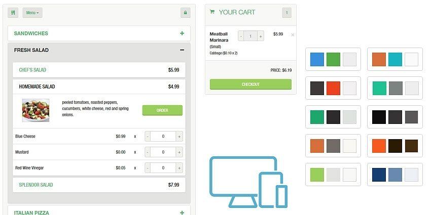 Mobile-friendly online menu
