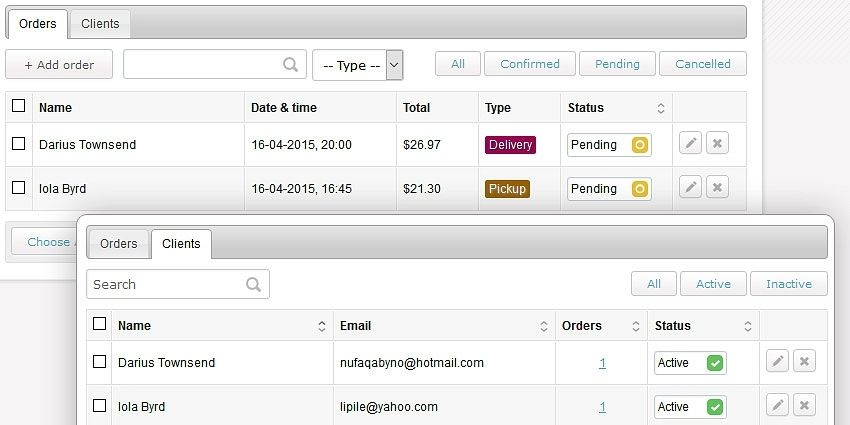 Manage orders and clients
