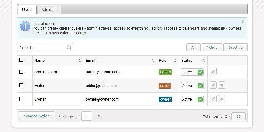 Calendar user roles