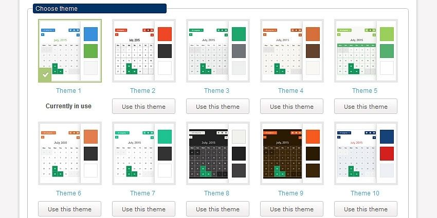 Calendar color themes